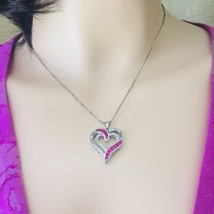 Jewelry - New Sterling Silver Diamond & Ruby Heart Necklace